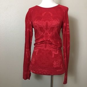 ATHLETA red floral wool blend base layer size XS